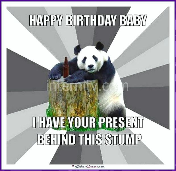 Funny Animal Birthday Meme: I have your present behind this stump.
